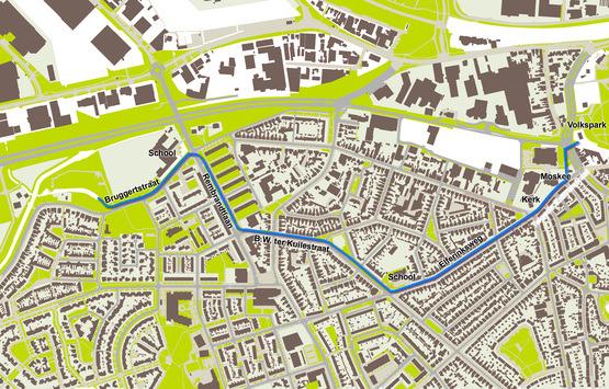 plattegrond met in blauw aangegeven waar de stadsbeek loopt