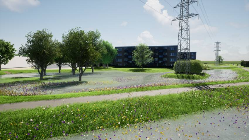 Artist impression van groene zone in Twekkelerveld