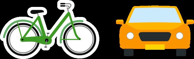 Voorbeeld van voertuigen in een illustratie